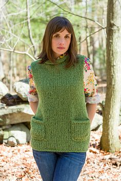 An A-line vest with patch pockets, and rolled neck