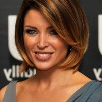 Dannii Minogue Chic Short Bob Haircut with Bangs for Thick Hair