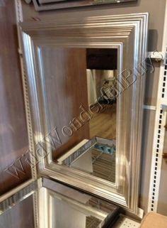 Silver-Leaf-Wood-Frame-WALL-MIRROR-Vanity-Dresser-Beveled-Large-NEW