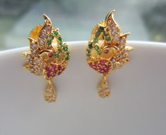 Peacock Earrings with Emeralds, Rubies and CZs, Petite Stone Studded Drops, Tiny Dangles, Indian Jewelry Kids Gold Jewellery, Peacock Jewelry, Peacock Earrings, Gold Jewellery Design, Gold Jewelry, Jewelry Design Earrings, Gold Earrings Designs, Gold Designs, Gold Earrings For Women