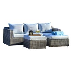 Create an intimate backyard lounge area with the Amezcua 3-piece patio set. Featuring durable polyethylene wicker and plush, weather-resistant cushions, this exquisite and low-maintenance ensemble lets you carry the beauty and refinement of your home into your outdoor space. Included matching ottoman provides a welcome respite for tired feet—or extra seating for unexpected guests. Poolside or on the patio, this classic wicker-inspired seating set is ideal for relaxing outside with a good…