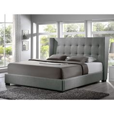 Baxton Studio Luna Grey Linen Platform Bed - Overstock™ Shopping - Great Deals on Baxton Studio Beds