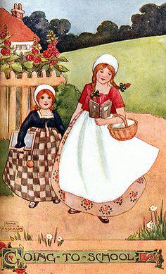 Anne Anderson-- 'Going To School' (Scottish illustrator 1874-1930)