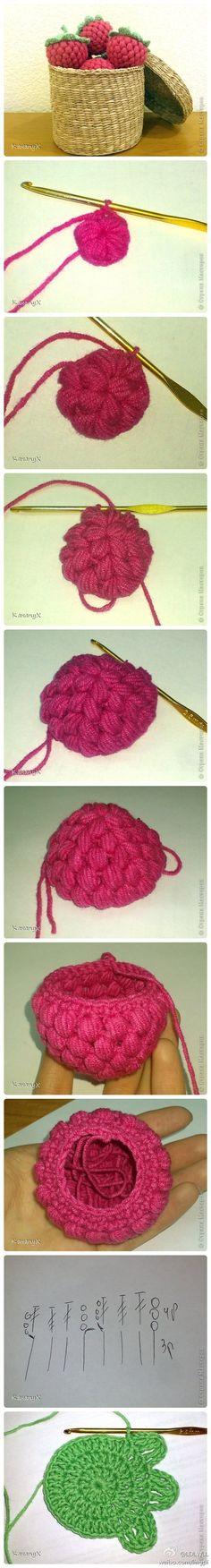 Crochet rasberries photo tutorial