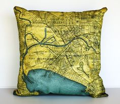 cushion cover MELBOURNE map cushion map pillow by mybeardedpigeon Melbourne Map, Melbourne Victoria, Old World Maps, Map Globe, Quilt Cover, Decoration, Decorative Pillows, Pillow Covers, Outdoor Blanket