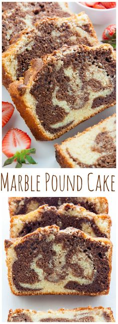 Supremely Moist Marble Pound Cake topped with juicy strawberries! This one's a keeper. Marble Pound Cake – A simply perfect recipe for the a. Marble Pound Cakes, Marble Cake, Homemade Cake Recipes, Pound Cake Recipes, Chocolate Strawberries, Buckwheat Cake, Loaf Cake, Bundt Cakes, Meals