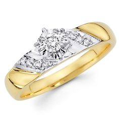 14K Yellow and White 2 Tone Gold Round-cut Diamond Women's Engagement Wedding Ring Band (0.19 CTW., G-H Color,...
