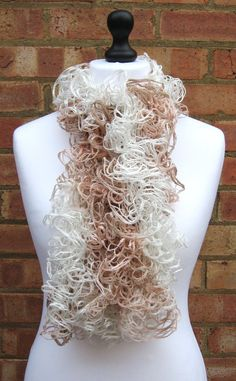 Fishnet Scarf Ruffle Fishnet Scarf Knit by LookingGlassDesigns1, £15.00