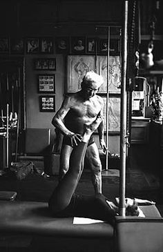 Joseph Pilates in his New York studio in the 1960's. #pilates