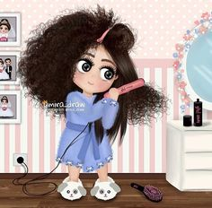 ImageFind images and videos on We Heart It - the app to get lost in what you love. Cute Cartoon Wallpapers, Cartoon Pics, Girl Cartoon, Cartoon Art, Curly Hair Cartoon, Curly Hair Drawing, Girly M, Girly Drawings, Cute Girl Wallpaper