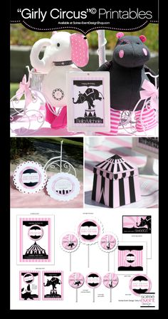 """Girly Circus"" Printables from Soiree-EventDesignShop.com"