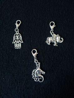 Floating Locket Dangles Hand of Fatima Hamsa Unicorn Elephant Living Memory  #Locket
