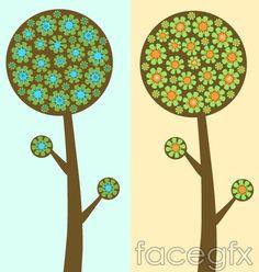 Logo EPS format vector flower tree flowers