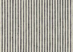Schumacher's linen Wesley Ticking Stripe in Ebony