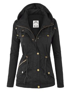 MBJ Womens Military Anorak Hoodie Jacket at Amazon Women's Coats Shop