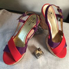 "Kate Spade♠️Red & Purple Canvas Sandals Kate Spade♠️ Beautiful Red & Purple Cork Heeled Sandals!  Purchased as a floor model and has markings on the insole( as photographed)  4"" Wedge Heel  kate spade Shoes Sandals"
