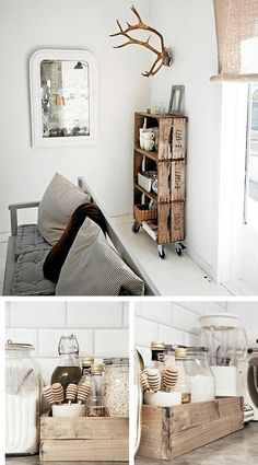 I love the shelving on the top image and the little wooden crates used in the kitchen. Just fabulous!