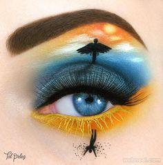 angel eye makeup art, body art