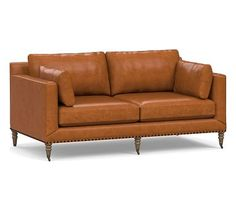 Tallulah Leather Loveseat Down Blend Wrapped Cushions Vintage Caramel