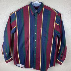 94d77ea05 Vtg 90s Nautica Mens M Color Block Striped Button Down L/S EUC #fashion