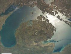 Beautiful aerial view of the lakes and the mitten.