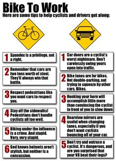 Tips to help #cyclists and drivers get along. Please pass this along ~ It could save a life ;)