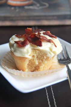 Maple bacon muffin with maple cream cheese icing.  The breakfast of champions!