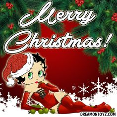 Merry Christmas! ✴ MORE Betty Boop Christmas & Winter Graphics & Greetings GO TO ➡ http://boopchristmas.blogspot.com/ Sexy Santa #bettyboop with evergreens and snowflakes, eating a green apple