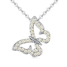 Real Austrian Crystals 18K White Gold Plated butterfly Pendant Necklace women Necklace Sale #115610