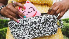 The Chunky Fabric Crochet Clutch by Dream in Vintage, made with Lion Brand Fettuccini!