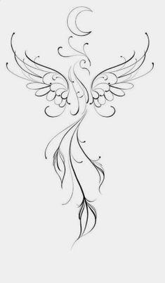 Phoenix Tattoo Feminine, Small Phoenix Tattoos, Phoenix Tattoo Design, Small Tattoos, Cool Tattoos, Simple Phoenix Tattoo, Tribal Phoenix Tattoo, Tatoos, Mini Tattoos