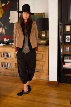 Tasya Van Ree 'It's my surrealist Japanese poet outfit: Tokyo pants; the shirt's Dries van Noten; the jacket's Opening Ceremony; and the vest is Ann Demeu...