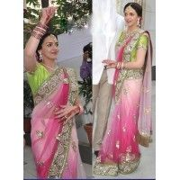 Esha Deol Style Engagement Pink Shaded Net Saree DF-11