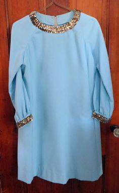Vintage Go Go Dress Tiffany Blue Party Dress Sequins