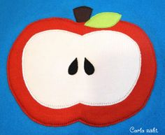 Apfel mit Kernchen kostenlose Applikationsvorlage apple applique pattern Freebie free von Carla näht.