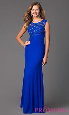 Sleeveless Floor Length Dress with Lace Embellished Bodice at PromGirl.com