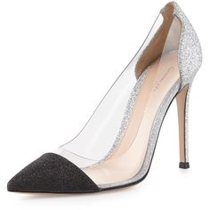 Gianvito Rossi Plexi Glitter Illusion 105mm Pump (17.802.510 VND) ❤ liked on Polyvore featuring shoes, pumps, silver, black shoes, pointed toe high heel pumps, high heeled footwear, slip-on shoes and slip on shoes