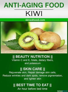 Kiwi for anti-aging. Best anti-aging foods that reduce wrinkles and dark spots. Food for younger looking skin, Best food for skin care. Health Facts, Health And Nutrition, Health Fitness, Fitness Tips, Food For Glowing Skin, Fruit Benefits, Health Benefits, Rides Front, Good Health Tips