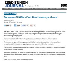 Consumers CU Offers First Time Homebuyer Grants  |  Credit Union Journal  |  1/15/2013