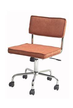 Sevilla Kontorstol - orange fløjl - Smart retro-inspireret kontorstol med polstret sæde i orange fløjlsstof og et flot stel i krom. Kontorstolen har desuden en praktisk hæve/sænke funktion og har hjul. Anvend denne unikke kontorstol i hjemmekontoret eller brug den som anderledes spisebordsstol.  Close-out tilbudet gælder så længe lager haves