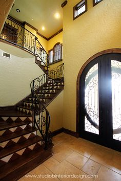 Entry - cool tile stair risers