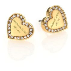 Michael Kors Heritage Hearts??Pave Logo Stud Earrings/Goldtone ($68) ❤ liked on Polyvore featuring jewelry, earrings, apparel & accessories, gold, heart shaped stud earrings, michael kors earrings, gold tone earrings, stud earring set and heart shaped earrings
