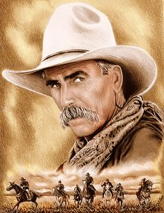 """Sam Elliot """"Cowboy"""" Sepia effect from my coloured pencil drawing. Sam Elliott Pictures, Cowboy Pictures, Canvas Art, Canvas Prints, Wall Art Prints, Celebrity Drawings, Cowboy Art, Western Movies, Pencil Art Drawings"""