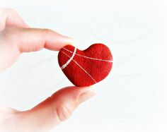 Romantic red heart brooch Eco-friendly fashion accessories Heart pin made of paper mache