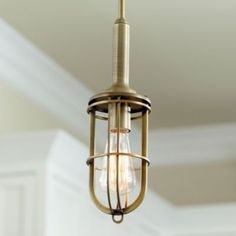 Stephen 1-Light Pendant $89 The characteristic nautical details of this industrial-style pendant adds a vintage look to any space. The bare bulb (sold separately) is housed in a hand crafted steel cage finished in a warm antique brass. Group a trio over a counter, bar or table.  Stephen 1-Light Pendant features:  Adjustable height Looks great with our vintage bulbs