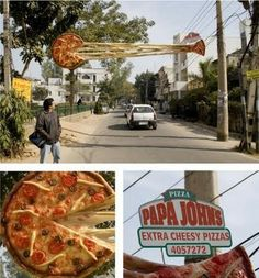 Cheesy Pizza Outdoor Ad: Creative and smart pizza ad demonstrates the cheesiness of Papajohn's pizza.
