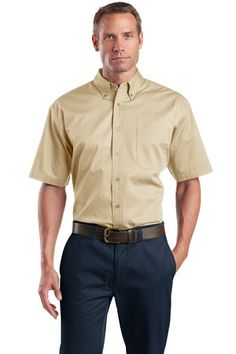 Buy the CornerStone - Short Sleeve SuperPro Twill Shirt Style SP18 from SweatShirtStation.com, on sale now for $26.99 #buttondown #businesscasual #cornerstone Stone