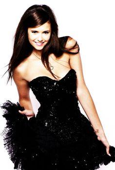 #nina #dobrev #elena #the #vampire #diaries #tv #shows #dress #black #smile #girl #happy