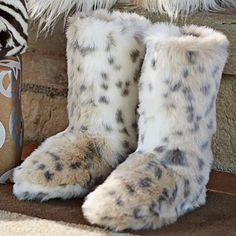 OMG I'm such a sucker for furry stuff---especially snow leopard or gray leopard prints.... I WANT!....Fur Booties - Snow Leopard #pbteen