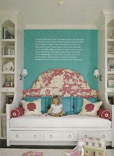 Just an idea to center a queen bed longways and flank with shelving for a teen room